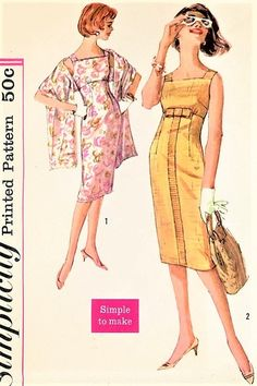 1950s SIZZLING Day or Cocktail Evening Empire Waist Slim Dress Pattern SIMPLICITY 3005 Fab Sleeveless Sheath Sun Dress and Stole Bust 32 Simple To Make Vintage Sewing Pattern