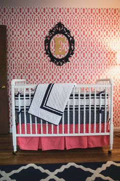 A coral, navy and gold girl's nursery featuring vintage pieces with family friendly livable pieces and a trellis stencil accent wall. Navy Girl Nursery, Coral Navy Nursery, Coral Aqua, Dream Baby, Baby Love, Nursery Design, Nursery Decor, Nursery Ideas, Room Ideas