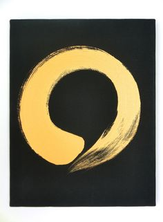 "Enso Gold on Black Canvas - Ensō (円相) is a Japanese word meaning ""circle"" and a concept strongly associated with Zen. Ensō is one of the most common subjects of Japanese calligraphy even though it is a symbol and not a character. The ensō symbolizes absolute enlightenment, strength, elegance, the Universe, and the void. It is characterised by a minimalism born of Japanese aesthetics. As an ""expression of the moment,"" it is often considered a form of minimalist expressionist art. The circle…"