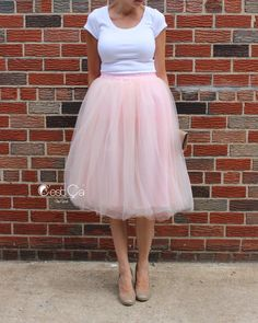 Claire  Blush Pink Tulle Skirt Soft Tulle Skirt Tea by CestCaNY-$59.00+