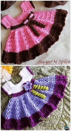 Crochet Sugar N Spice Dress Free Pattern - Crochet Girls Dress Free Patterns Baby Dress Patterns, Crochet Baby Dress Free Pattern, Crochet Dress Girl, Crochet Doll Clothes, Crochet Baby Booties, Baby Girl Crochet, Crochet Dresses, Baby Dress Tutorials, Crochet Patterns