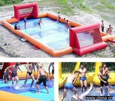 Inflatable soccer field in water! I'd use for football but it is sooo awesome and I wanna play!-----Soccer is football Fc B, Soccer Party, Play Soccer, Soccer Quotes, Sport Fitness, Outdoor Fun, Fun Games, Summer Fun, Sports