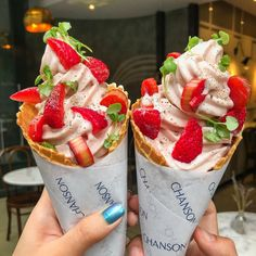 "👫Have u fed ur girlfriend yet? on Instagram: ""New flavor alert 🚨: @patisseriechanson has just launched new Strawberry soft serve with basil 🌿, strawberry 🍓, rhubarb and drizzled with…"""