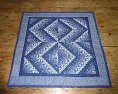 Miniature quilt of indigo Shweshwe