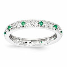 - Material: Primary:.925 Sterling Silver - Polished Finish - Rhodium-Plated Stone Type: Lab Created Emerald Stone Creation Method:Lab Created Stone Treatment:Synthetic Stone Shape:Round Stone Size:1.5