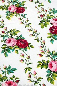 Vintage Home - Roses and Rosebud Barkcloth Fabric.