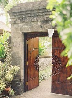 Wood Doors in Bali - Entouriste Garden Entrance, Front Door Entrance, Garden Doors, Entrance Gates, House Entrance, Front Door Decor, Garden Gates, Entry Doors, Main Door Design
