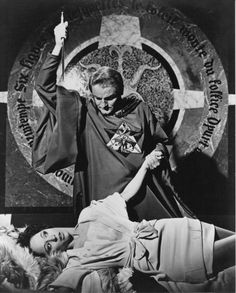 """Nike Arrighi and Charles Gray publicity for """"The Devil Rides Out"""" , 1968 (aka The Devil's Bride)"""