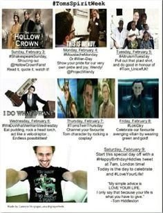 Tom Spirit Week!!! I love how this is leading up to his birthday :)