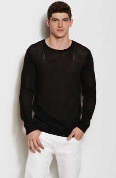 Sheer Pieced Crewneck Sweater - New Arrivals - Mens - Armani Exchange