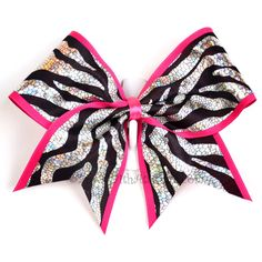 """3"""" Wide Luxury Cheer Bow - Metallic Zebra w/Hot Pink Trim ($14) ❤ liked on Polyvore"""