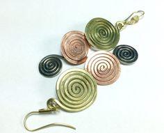 """Große Spiralohrringe ' 3 elements"""" von LaSombrilla auf DaWanda.com"""
