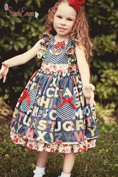 Alisa- Deviney Claire needs this for preschool :) Vintage ABC Back to School Dress by MySweetEmma on Etsy, $85.00