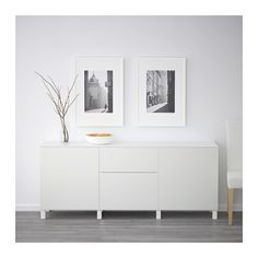 BESTÅ Storage combination w doors/drawers, Lappviken white Lappviken white 180x42x74 cm drawer runner, push-open