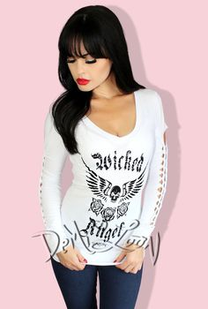 Wicked Angel Cut Out LS Tee -White