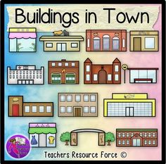 Buildings in town clip art - color and black line. Product includes: • Bakery • Bus stop • Clothes shop • Fire station • Florist • Hospital • Park / playground • Police station • Post office • Restaurant • School • Supermarket • Train station • Zoo