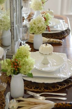 Thanksgiving In The Dining Room-place settings-stonegableblog.com