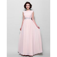 A-line Plus Sizes / Petite Mother of the Bride Dress - Pearl Pink Floor-length Short Sleeve Chiffon – USD $ 89.99