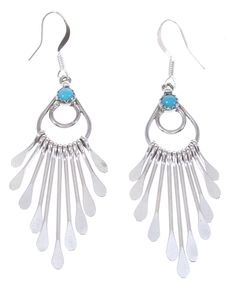 Turquoise Native American Jewelry Silver Dangle Earrings YS64772 http://www.silvertribe.com