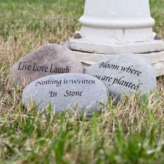 ENGRAVED GARDEN STONES These natural beach & river rocks with various phrases engraved are the perfect accent piece for any garden. Rock Sculpture, Bloom Where You Are Planted, Rock Decor, Crystal Fashion, The Power Of Love, Garden Stones, Where The Heart Is, Blue Crystals, Life Photography