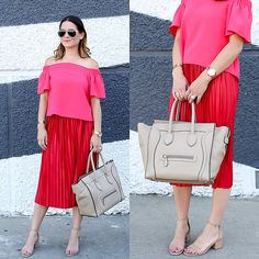 Get this look: http://lb.nu/look/8311953 More looks by Jenn Lake: http://lb.nu/jenniferlake Items in this look: Topshop Pink Livi Off The Shoulder Top, Topshop Red Pleated Midi Skirt, Steve Madden Irenee Ankle Strap Sandal, Celine Mini Luggage Tote, Ray Ban Aviator Sunglasses, Movado Rose Gold Edge Watch #chic #classic #street #ootd #redandpink #summertrends #offtheshoulder #pleatedskirt #celine