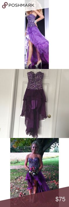 Panoply purple prom dress Strapless purple prom dress, worn once, short in the front, long in the back. In perfect condition! No beads missing. I'm 5'2 and with 5 inch heels it hit the ground. Size 0 Panoply Dresses Prom