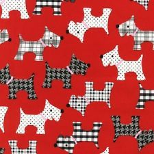 Robert Kaufman Fabric - Whiskers & Tails - Red - scotty dog dogs