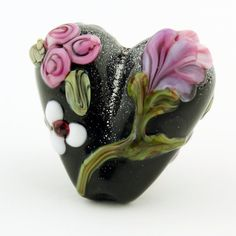 Lampwork Glass Focal Black Heart Bead  by StoneDesignsbySheila