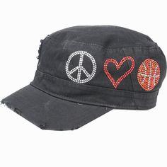 Black CADET CAP with Rhinestones - Peace, Love, BASKETBALL