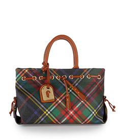 Dooney and Bourke Tassel Plaid Tote Bag Scottish Plaid, Scottish Tartans, Wallace Tartan, Tartan Fashion, Scottish Fashion, Tartan Plaid, Houndstooth, Dooney Bourke, Purses