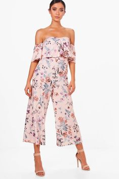85a79a3306e Boohoo Floral Print Off The Shoulder Culotte Jumpsuit Size UK 14 DH182 MM  08  fashion