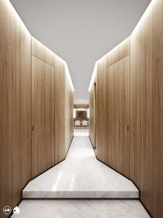 Visibly Interesting: Zalka Apartment - Narrow entrance corridor emphasises contrasting spacial qualities of the building. Flur Design, Wall Design, House Design, Corridor Lighting, Cove Lighting, Luxury Home Decor, Luxury Homes, Architecture Metal, Hotel Corridor