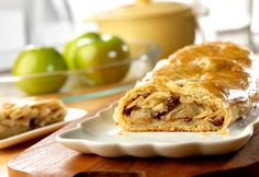 Your family will enjoy the homemade taste and old-fashioned goodness of this delectable apple strudel. It's made with prepared puff pastry, so it's easy and delicious.