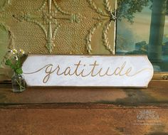 Wall Decor Gratitude Sign Hand painted Wooden by bonnielecat