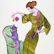 Andy Warhol: Female Fashion Figure, 1950s.  A link to some of Warhol's early works