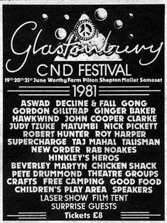 Glastonbury CND festival 1981
