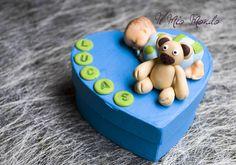 Boîte à dent bébé bleu et vert avec son ourson en Fimo (pâte polymère): Créé par Il Mio Mondo : https://www.facebook.com/ilmiomondo26