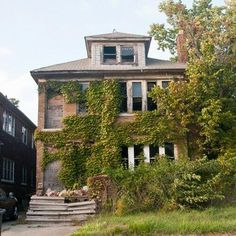 Feral house in Detroit, MI...The plants that used 2 decorate the yard, n frame the house, are now slowly engulfing it~