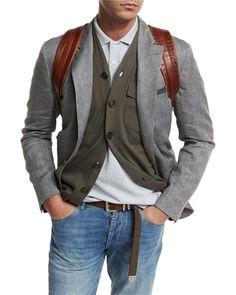 BRUNELLO CUCINELLI DECONSTRUCTED HERRINGBONE SPORT JACKET, GRAY. #brunellocucinelli #cloth #