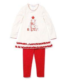 White & Red 'Joy' Tunic & Leggings - Infant, Toddler & Girls
