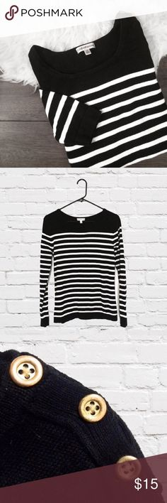 Black & White Striped Sweater with Gold Buttons Chic black crewneck sweater with white stripes and gold buttons on shoulder. Worn only once or twice and in excellent condition. Size small. croft & barrow Sweaters Crew & Scoop Necks