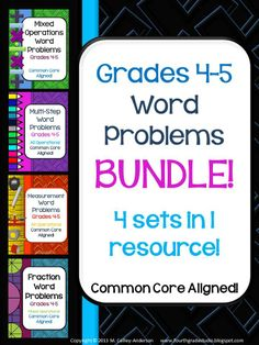 This BUNDLED set of 80 multi-step, measurement, mixed operation, and fraction word problems reflects the Common Core State Standards for grades 4 and 5. It is bundled for those buyers who wish to purchase all 4 sets at a greatly reduced price. Please do NOT purchase this set if you have purchased MORE THAN ONE of the 4 items--if you have purchased only one, this will still save you money! $13.50