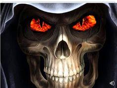 Reaper Evil Skull Horror Wallpaper and Picture Wallpaper Free, Skull Wallpaper, La Santa Muerte Tattoo, Tattoo Caveira, Gif Terror, Fire Eyes, Reaper Tattoo, Skull Pictures, Skull Art