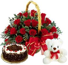 Surprise your dear and loved ones with this teddy combo which includes : 24 red roses basket, a delicious cake with 10inch white teddy. This Lovely Combo is a special gift hamper you can send to your loved ones to celebrate any occasion.