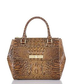 Brahmin Toasted Almond Collection Malia Croco Embossed Convertible Satchel #Dillards