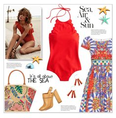 """""""Swimsuit"""" by anne-irene on Polyvore featuring Dolce&Gabbana, Chloé, Cotton Candy, J.Crew, Tory Burch and swimsuit"""