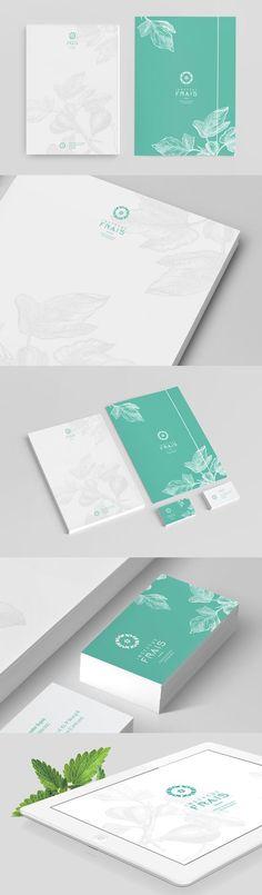 Imagen corporativa con hojas en marca de agua / Frais identity: