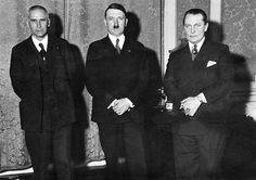 Frick, Goering and Hitler on the day he was named Chancellor of Germany on January 30, 1933. Frick was measured at Nuremberg in 1946 and his height was listed as 5′11. Goering's height was 5′8. Hitler was measured always at 5′9. (Putschgirl).