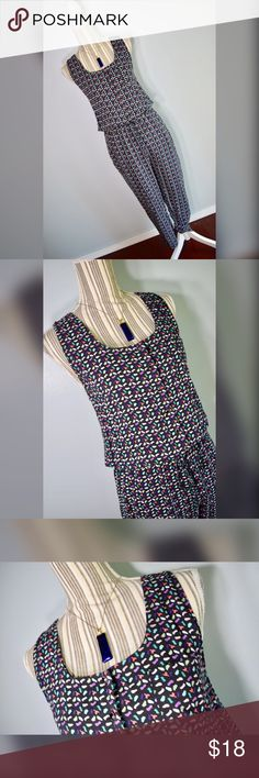 "🎀{bysi} Jumpsuit🎀 Multicolored racerback jumpsuit by Bysi. Size 8 UK, US size Small. Black, purple, pink, coral, green, teal, light blue. Drawstring elastic waistband. Two side pockets. Extra button sewn on interior tag.  Closure: 7 Buttons on Bust Material: 100% Cotton   Measurements Bust: 30"" lying flat, stretches to 34""  Waist: 25"" lying flat, stretches to 36""  Strap Width: 1.75""  Shoulder to Hem Length: 57""  Waist to Hem Length: 37"" Inseam: 24.25"" Thigh Width Circumference: 22"" Leg…"