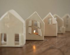 Set of two Love Houses - Ceramic Candle Holder Love Houses